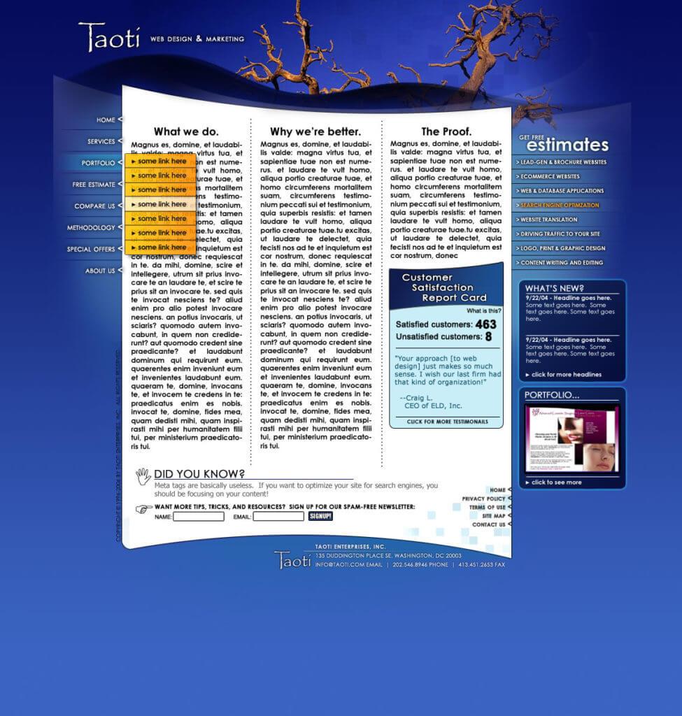 A History of Taoti Creative's Websites 9