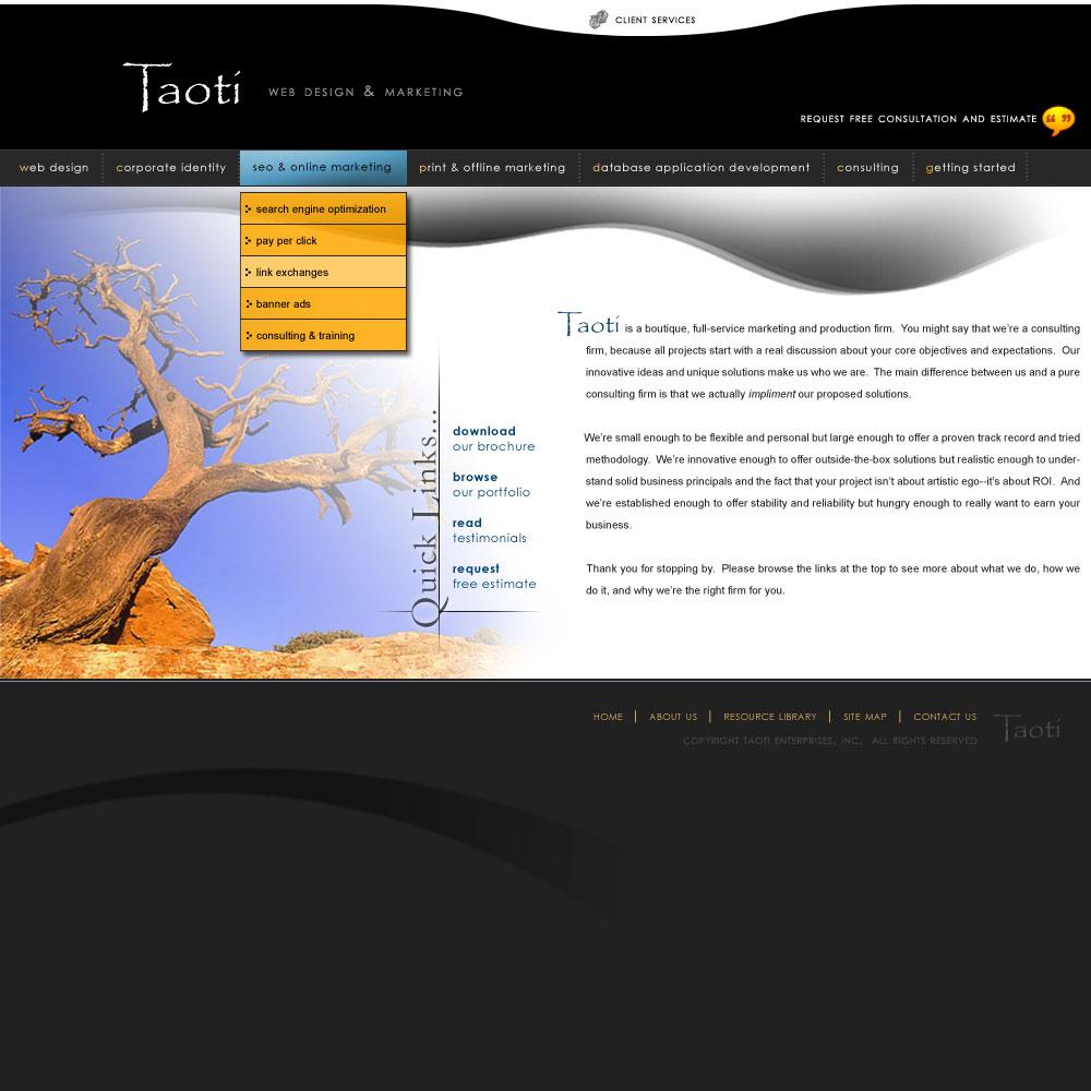 A History of Taoti Creative's Websites 10
