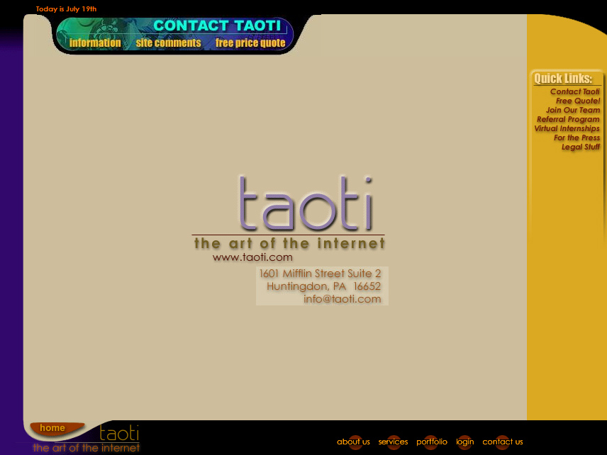 A History of Taoti Creative's Websites 1