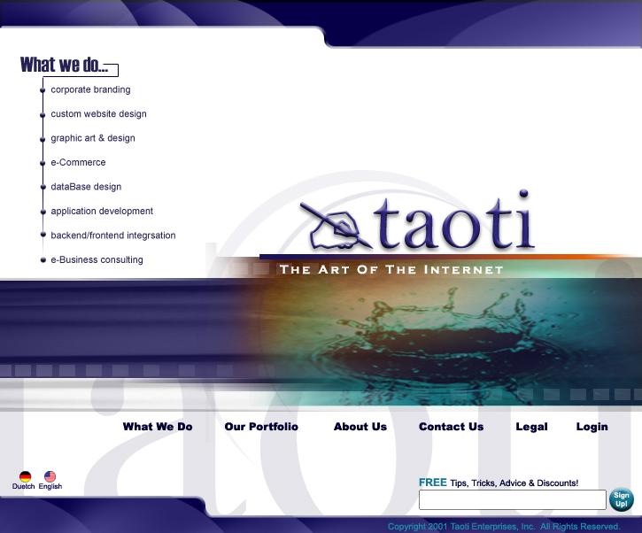A History of Taoti Creative's Websites 3
