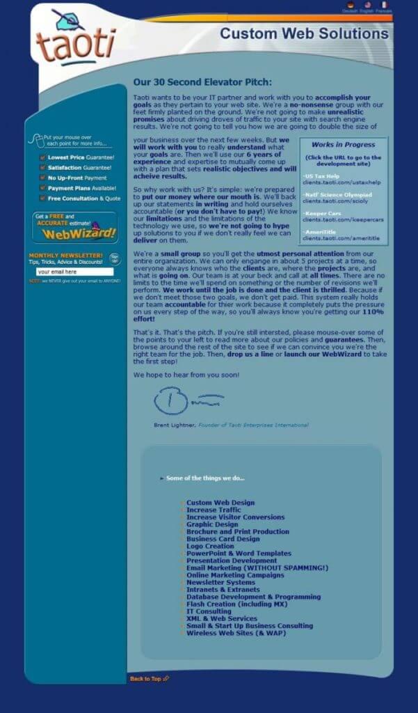 A History of Taoti Creative's Websites 4