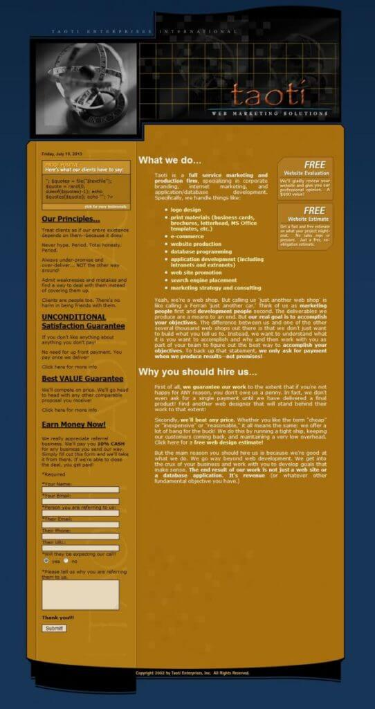 A History of Taoti Creative's Websites 6