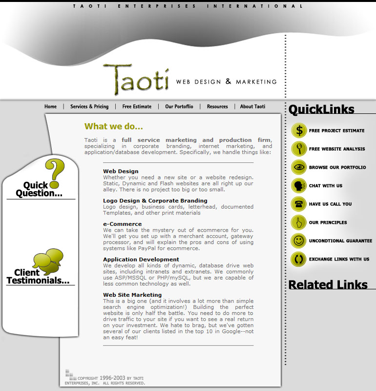 A History of Taoti Creative's Websites 8