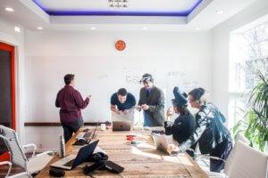 team working on app